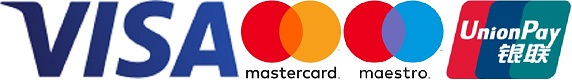 An image of the payment options available; Visa, Mastercard, Maestro, and UnionPay.